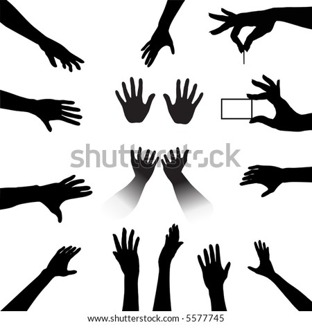 Reach out and grab this People Hands Silhouettes Set, a collection for all your reach, touch, hold needs. - stock vector