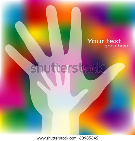 Reaching hands design with copy space. - stock vector