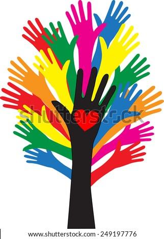 reaching hands freedom love diversity - stock vector