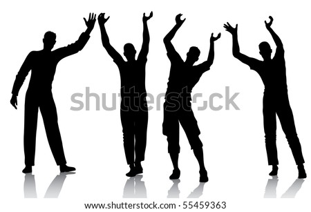 Reaching man silhouettes - stock vector