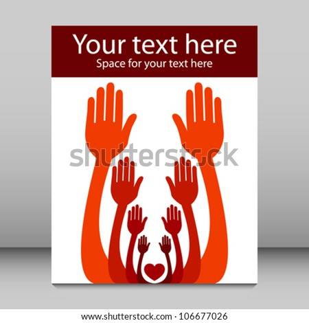 Reaching out together hands leaflet design. - stock vector