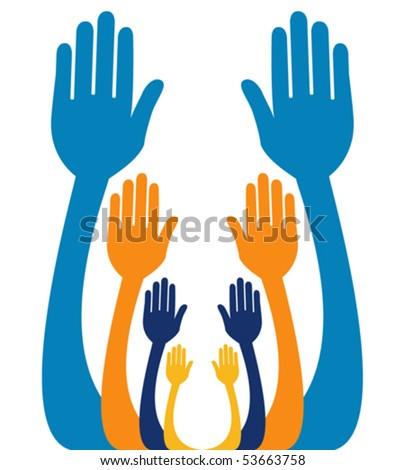 Reaching out together vector.