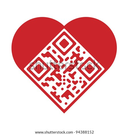 "Readable red artistic QR Code in shape of heart with text ""I Love You!"" - stock vector"