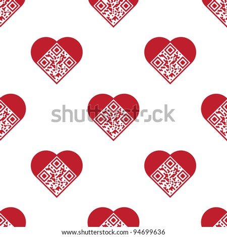 """Readable red artistic QR Code seamless pattern. Elements are in shape of heart with """"I Love You!"""" text encoded. - stock vector"""
