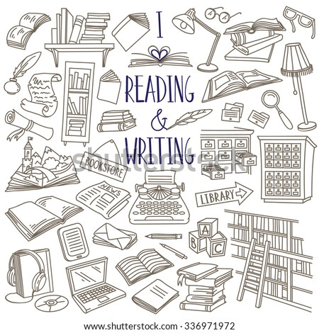 Reading and writing items collection. Books, magazines, newspapers, letters, piles of books, library catalog, bookshelf, typewriter. Vector hand drawn sketches isolated over white. - stock vector
