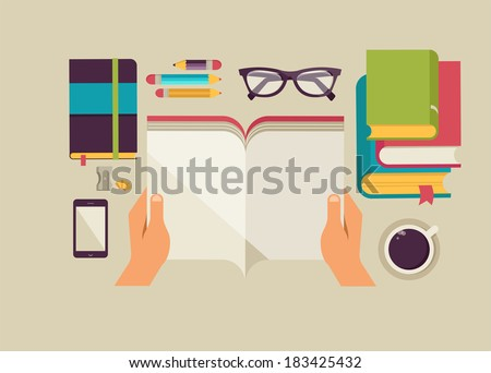 Reading books desktop, set of flat icons - stock vector