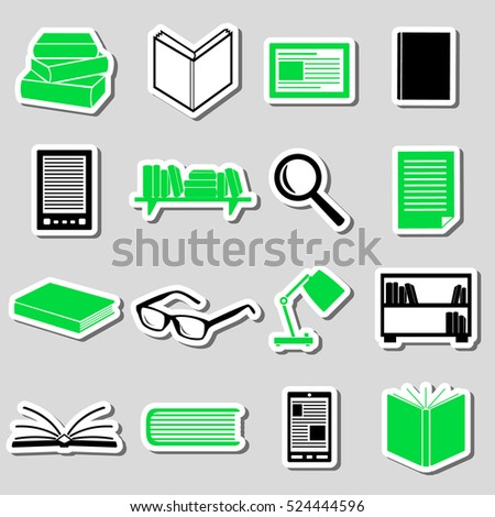 reading books theme set of simple stickers eps10