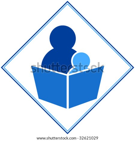 Reading: child and adult reading a book together - stock vector