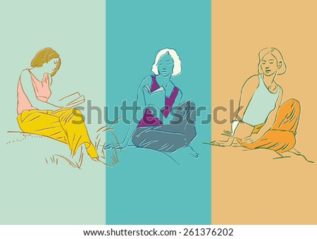 Reading girl. Three drawings of a girl reading and meditating , with an attitude of intellectual pleasure. - stock vector