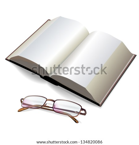 Reading glasses and a book on a white background. Vector illustration - stock vector