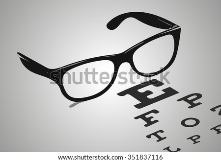 Reading glasses with eye chart vector illustration - stock vector
