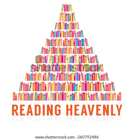 Reading Heavenly Colorful Books Stacks Vector Illustration - stock vector