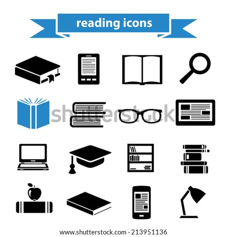 reading icons - stock vector