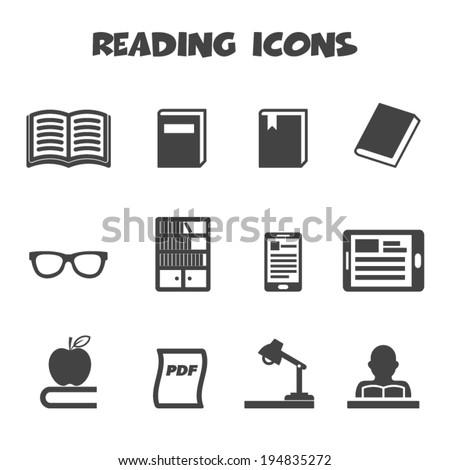 reading icons, mono vector symbols - stock vector