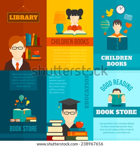 Reading mini poster flat set with library children books store isolated vector illustration - stock vector