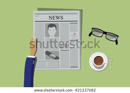 reading news paper with coffee and glasses concept vector flat style