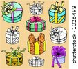 Ready-to-cut vector illustrations of wrapped gift boxes in circle shape, in color, and black and white renderings. - stock vector