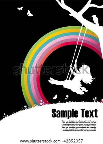 ready-to-use  placard with rainbow and silhouette of a girl sitting on a swing , just add your text below and use as placards or invitations to advertise your action! - stock vector