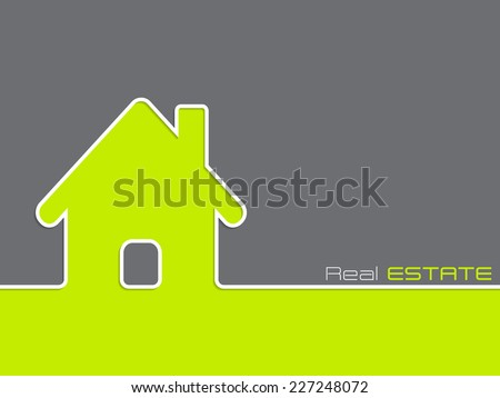 Real estate advertising background with house silhouette - stock vector