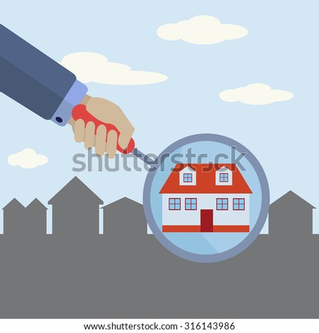 Real estate agent finding your dream home with a magnifying glass vector concept - stock vector