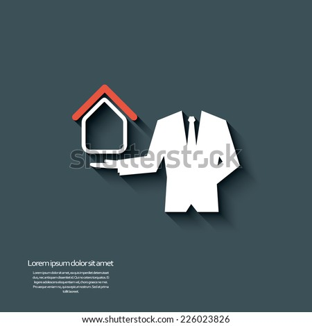 Real estate agent offering housing. Eps10 vector illustration - stock vector