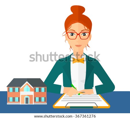 Real estate agent signing contract. - stock vector