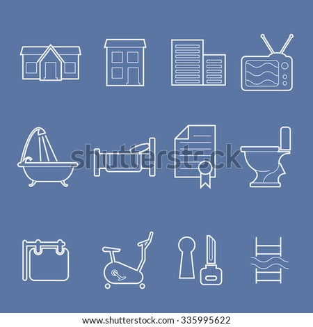 Real estate and accommodation amenities icons - stock vector