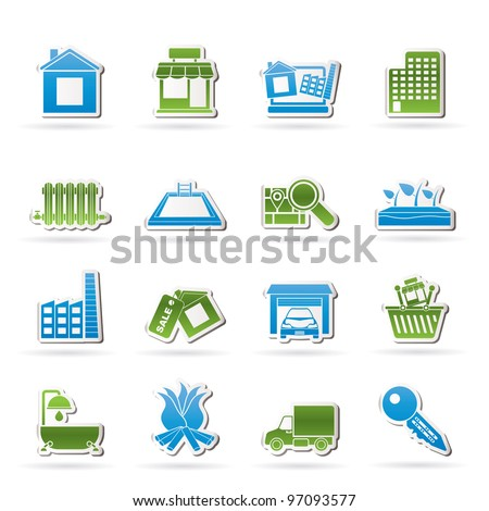 Real Estate and building icons - Vector Icon Set - stock vector