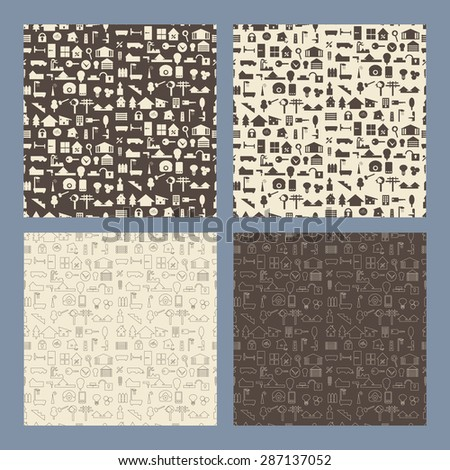 Real estate and construction icon  seamless texture set.   Editable vector illustration. Design template endless pattern set. - stock vector