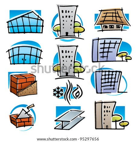 Real estate and construction icons set - hand drawn traced and colored vectors. - stock vector