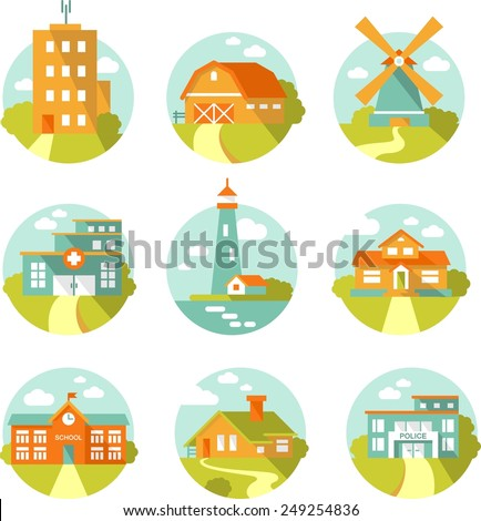 Real estate and government buildings icons in flat style - stock vector
