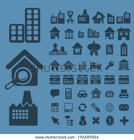 real estate, architecture, houses, buildings icons, signs set, vector - stock vector