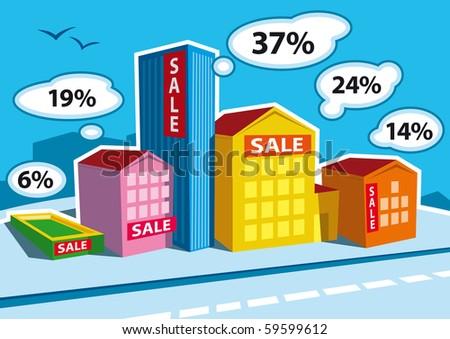 Real Estate Bar Graph - stock vector
