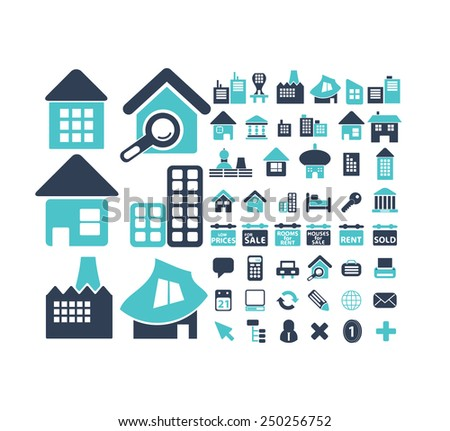 real estate, building, houses icons, illustrations, signs set, vector - stock vector