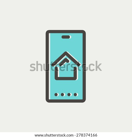 Real estate business card icon thin line for web and mobile, modern minimalistic flat design. Vector icon with dark grey outline and offset colour on light grey background. - stock vector