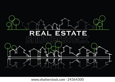 Real estate business card with houses and trees silhouette - stock vector