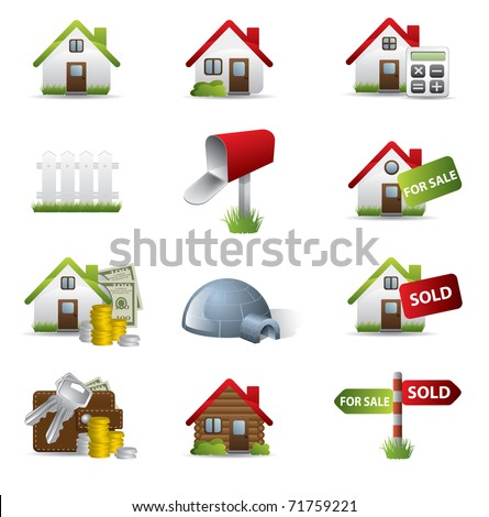 Real Estate Business Icon Set - stock vector