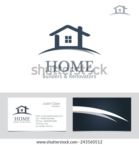 Real Estate Business sign & Business Card vector template for architecture bureau, home insurance, brokerage, building & renovation business. Business graphics. Corporate web site element. Sample text - stock vector