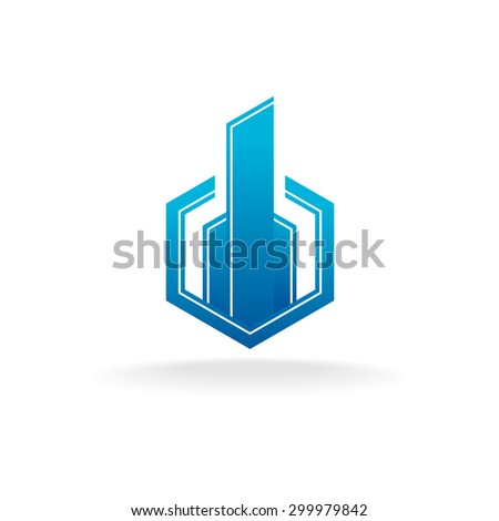 Real estate city building logo. Hex corner style. - stock vector