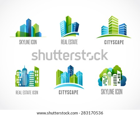 real estate, city, skyline icons and logos - stock vector