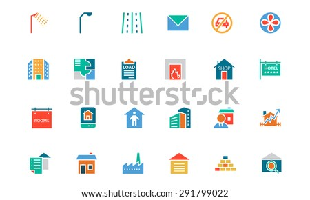 Real Estate Colored Vector Icons - stock vector