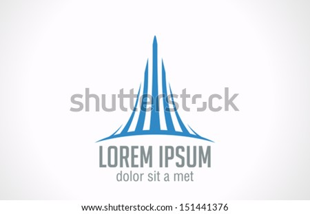 Real estate company concept vector logo design template. Creative business symbol. Skyscraper abstract icon. Corporate sign. - stock vector
