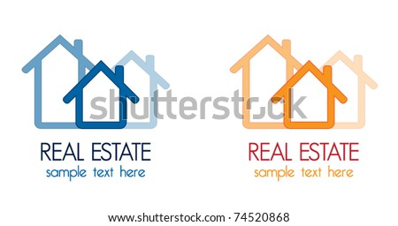 Real estate company design elements, two color variations, vector illustration - stock vector
