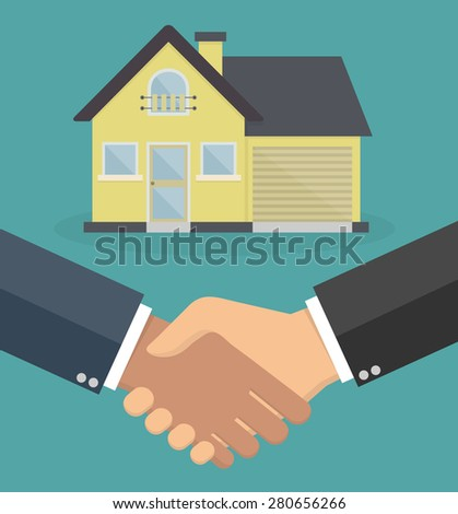 Real estate concept. Handshake with a house in the background - stock vector