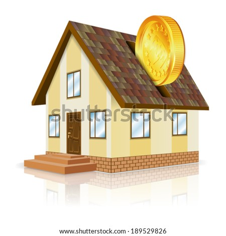 Real Estate Concept - House and Gold Coin, vector isolated on white background