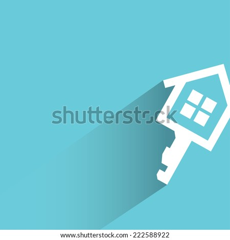 real estate concept, house key in blue background, flat and shadow design - stock vector