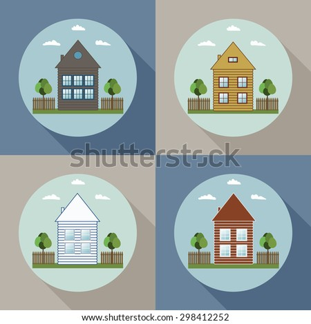 Real Estate Concept: Houses For Sale / Rent, Long Shadow
