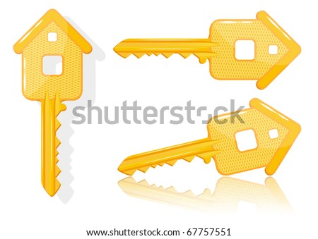 Real estate concept with house key - VECTOR illustration. EPS10 - stock vector