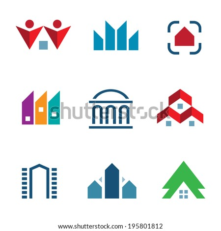 Real estate construction building in city community center icon logo elements - stock vector
