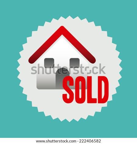 Real estate design over blue background, vector illustration - stock vector